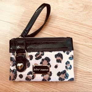 Betsy Johnson Leopard Print Sequined Wristlet